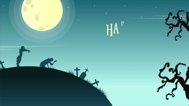 Den Halloween krajina s měsíc animace pozadí