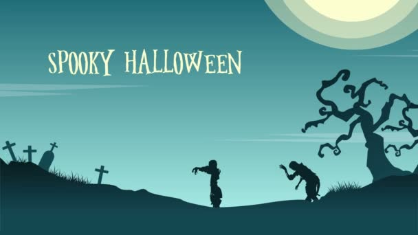 Landscape Halloween day with zombie animation background
