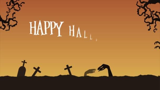 Veselý Halloween animace v noci pozadí Collection
