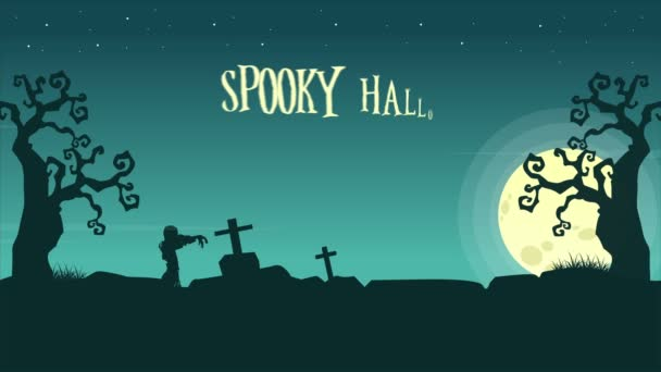 Spooky Halloween landscape at night animation background