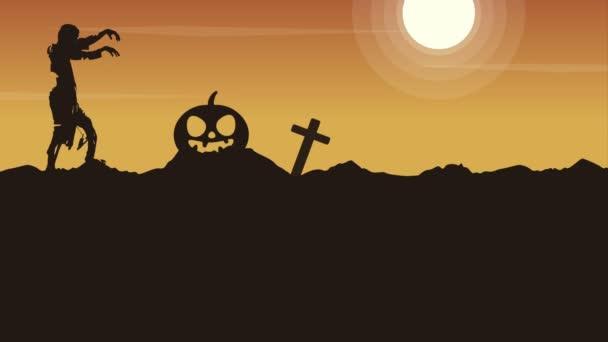 Halloween noc animace na oranžové pozadí