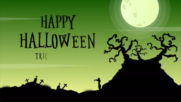 At night Halloween day with moon animation background