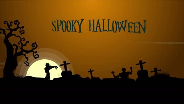 Strašidelné Halloween krajina v noci animace pozadí