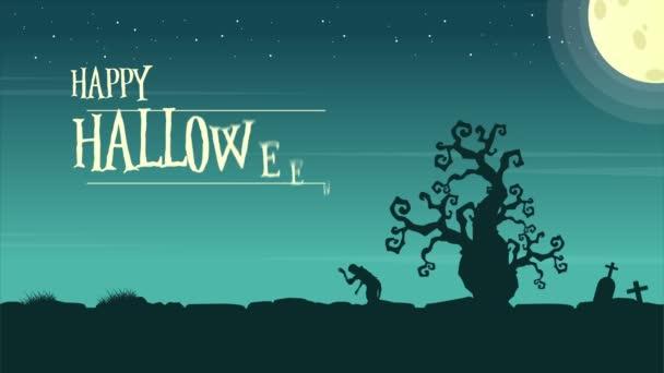 Veselý Halloween s měsíční krajina animace pozadí