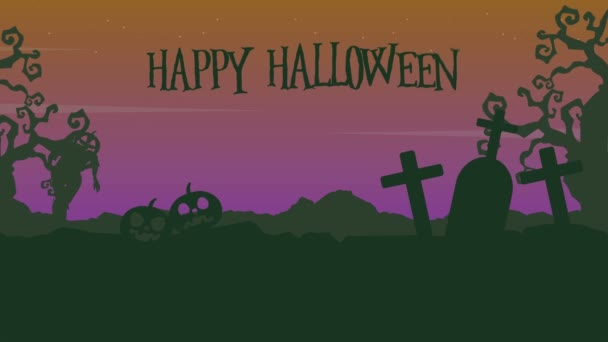 Landscape of Happy Halloween with zombie animation background