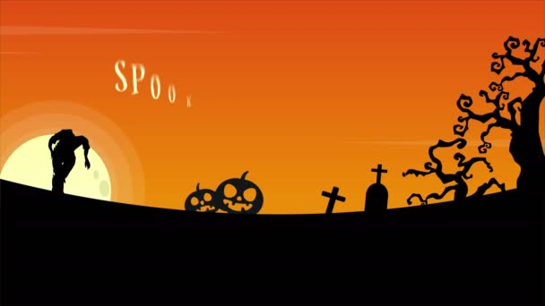Spooky Halloween treat or trick at night landscape animation background
