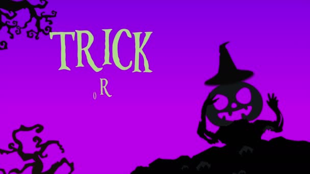 Trick or treat with pumpkin landscape animation background
