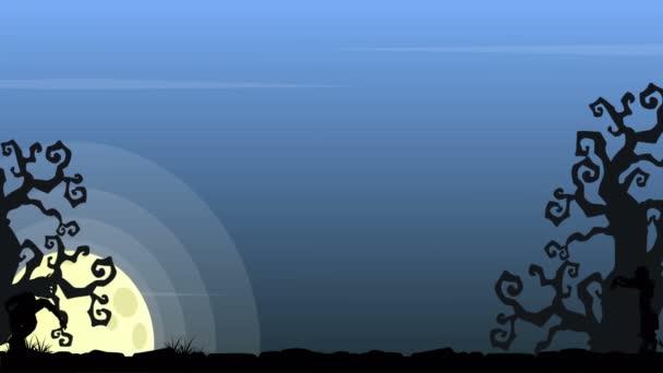 Halloween a strašidelné s měsíc v noci krajina animace pozadí