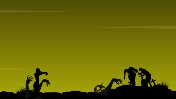 Halloween with zombie in the grave landscape animation background