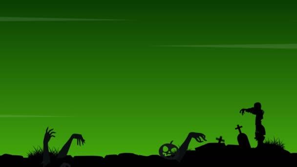 Halloween s zombie v pozadí animace hrob krajina