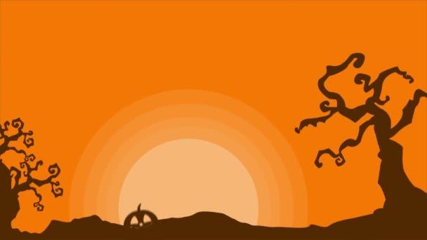 Animace Halloween krajiny v noci pozadí collection