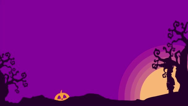 Animation of Halloween landscape at night background collection