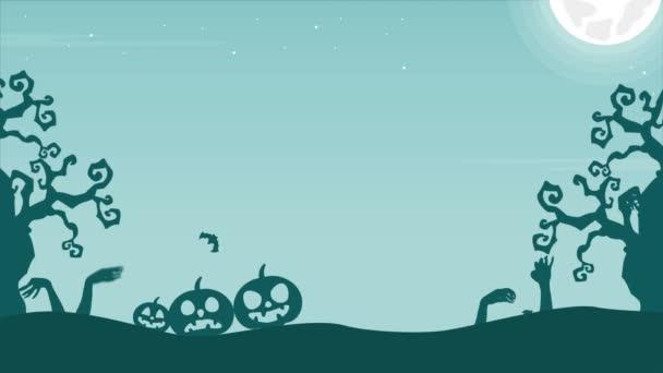 V noci Halloween strašidelné krajině animace pozadí