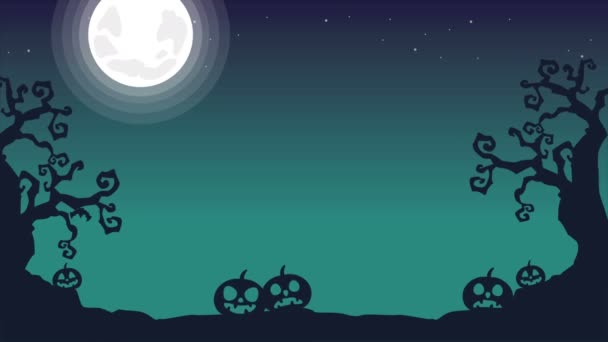 At night Halloween spooky landscape animation background