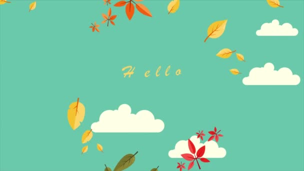 Ahoj podzimní listí pozadí karty animace kolekce