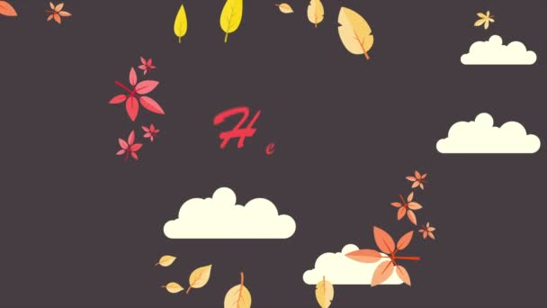 Hello Autumn with leaves background card animation collection