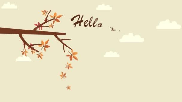 Paesaggio di autunno con autunno foglie insieme sfondo animazione