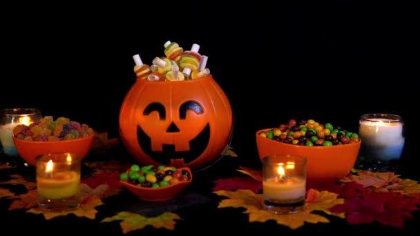 Candy animált Halloween ünnep a fekete háttér gyűjtemény