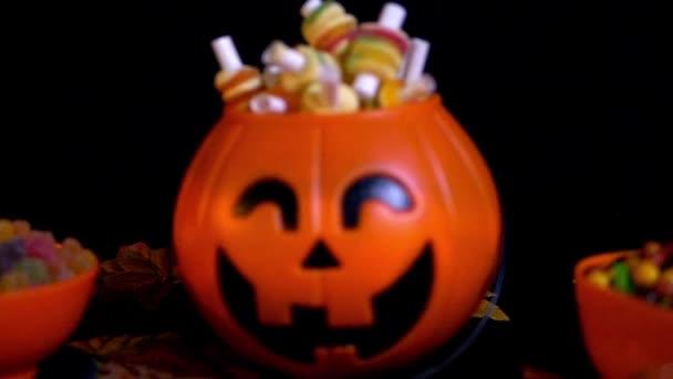 různé cukrovinky s nakládacím zařízením dýně Halloween záběry kolekce