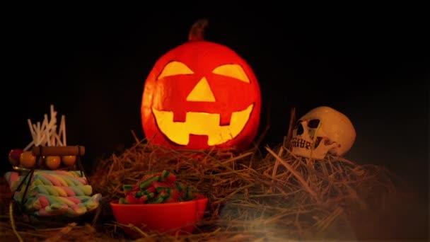 Halloween napjának lentern gyűjtemény animáció
