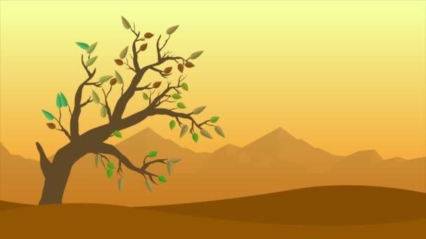 Podzimní krajina s větru a listů animace kolekce
