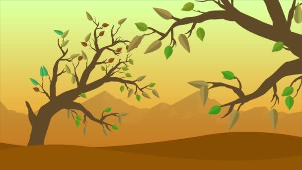 Őszi táj, a szél és a levelek animáció gyűjtemény