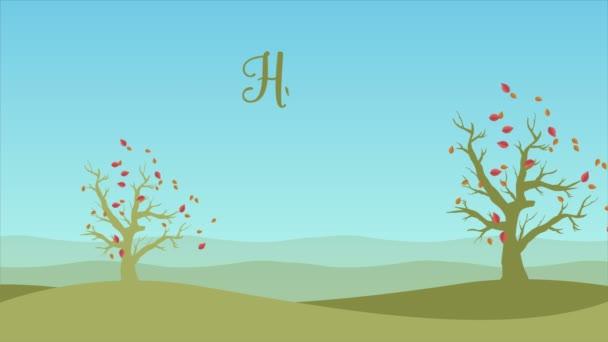 Dobrý den podzim s krajinou padat listy animace kolekce