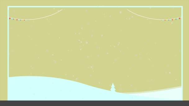 Štastné a veselé na snow krajina animace kolekce