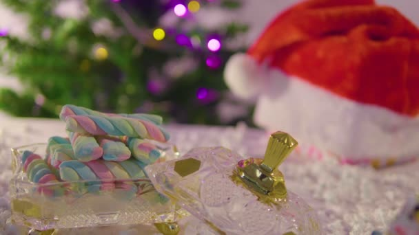 Animation of Christmas with fir and ornament collection
