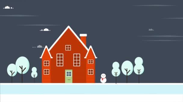 Vánoční pozadí. Krajina s domy záběry kolekce