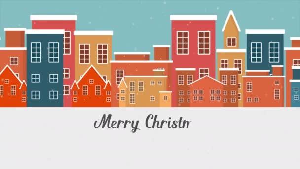 Animace z města vánoční krajina kolekce