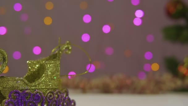 Footage of tree Christmas decorated with Christmas crown collection