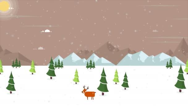 Animace secenery sněhu na kopci kolekce
