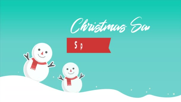 Animation of people snow. Chirstmas sale collection