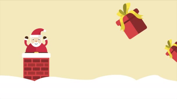 Santa Clause a dárkovou záběry. Veselé Vánoce prodej sbírky