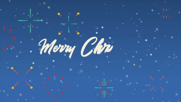 Animation of greeting Merry Christmas with firework collection