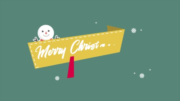 Animation snow people for greeting Merry Christmas collection