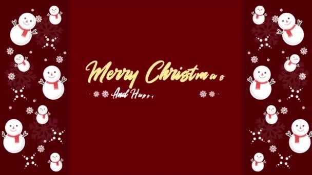 Kellemes karácsonyi ünnepeket és boldog új évet animáció hóember gyűjtemény