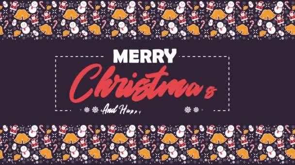 Veselé Vánoce s sněhuláka, Santa Clause, zvony a candy hole animace kolekce