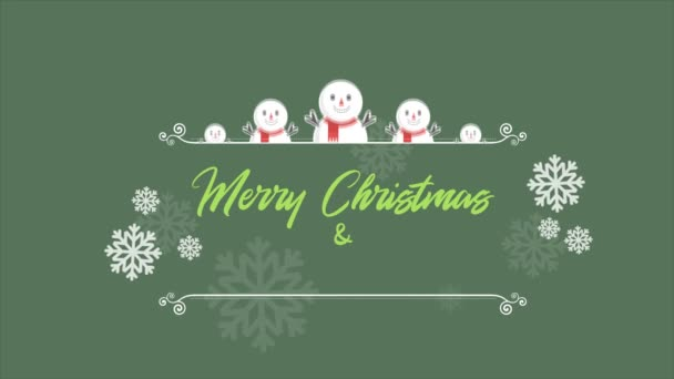 Veselé vánoční pozadí animace s sněhulák kolekce