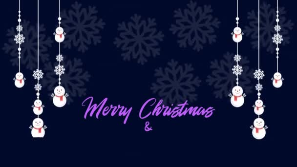 Boldog karácsonyi animáció hópelyhek és a hóember gyűjtemény