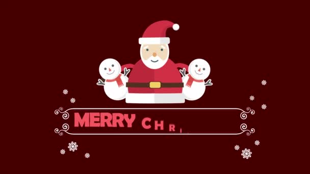 Veselé Vánoce animace s sněhulák a Santa Clause collection