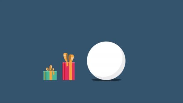Animace znaku sněhulák pohyb s dárek vánoční kolekce