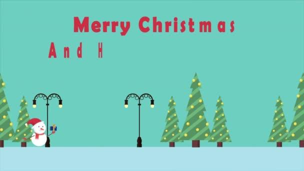 Animace pohybu sněhulák s darem. Veselé Vánoce kolekce