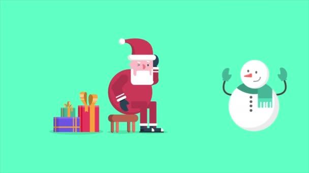Animace ze Santa Clause a sněhulák chodit s darem. Chirstmas kolekce