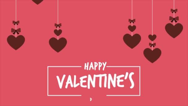 Šťastný valentines day s animací srdce stuha kolekce