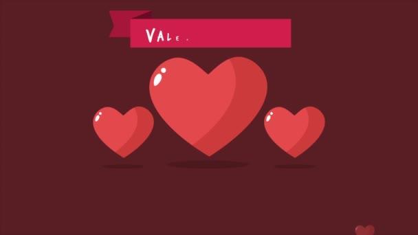 Animace z lásky a pásu karet. A text mám tě rád. Valentine den kolekce