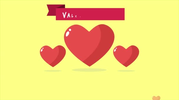 Animation of love and ribbon. And text i love you. Valentine day collection