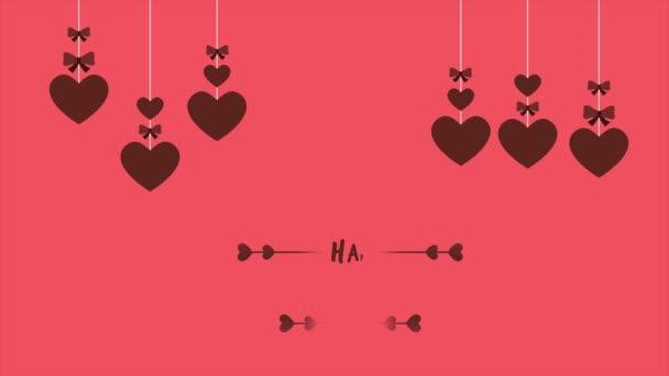 Happy Valentine den s animace pásu a srdce kolekce