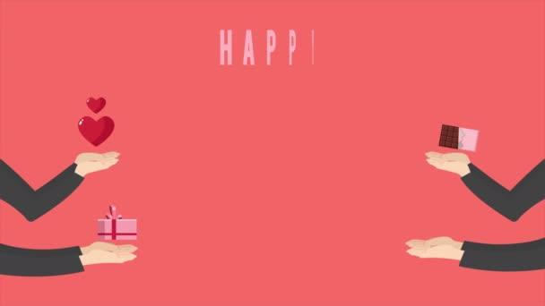 Animáció a kezét, hogy ajándékot, a csokoládé, a borítékot és a szív a boldog Valentin nap gyűjtemény